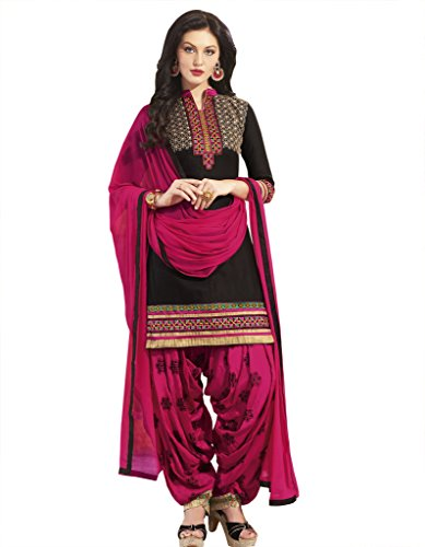 Kvsfab Women\'s Cotton Unstitched Patiala Salwar Suit (KVSSK5053PA_34_Black_Free Size)