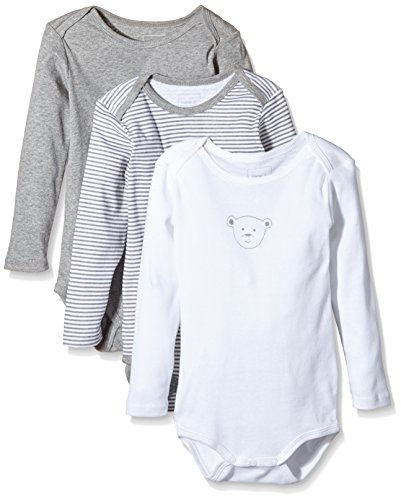 NAME IT Baby-Jungen Body NITBODY LS M NOOS, 3er Pack, Gr. 98, Mehrfarbig (Grey Melange)