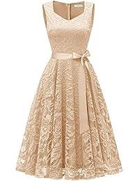 Gardenwed Damen Elegant Spitzenkleid Strech Herzform Abendkleid Cocktailkleider Partykleider Champagne S
