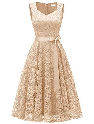 GardenWed Damen Elegant Spitzenkleid Strech Herzform Abendkleid Cocktailkleider Partykleider Champagne L