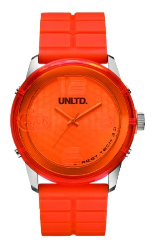 Marc Ecko Men's Quartz Watch with Orange Dial Analogue Display and Orange Silicone Strap E11539G2