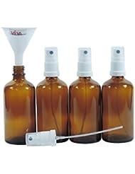 Viva Haushaltswaren - 4 x Apotheker-Sprühflasche 100 ml aus Braunglas, kleine Glasflaschen mit Zerstäubereffekt - Made in Germany & BPA frei (inkl. einem Trichter Ø 5 cm)