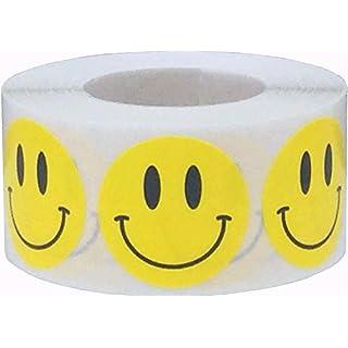 Gelb Glücklich Gesicht Kreis Punkt Aufkleber, 25 mm 1 Zoll Runde, 500 Etiketten auf einer Rolle