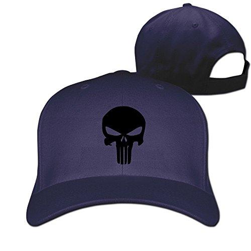 YUVIA Unisex Baseball-caps Peak Cap The Punisher Skull Cap Hats Black