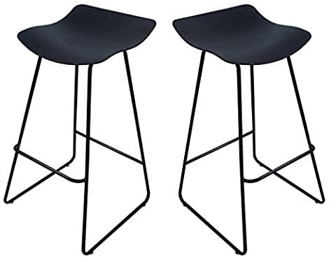 Lot de 2 tabourets de bar avec repose-pieds et piétement métallique / Petit prix / Collection BARISTA (Noir)