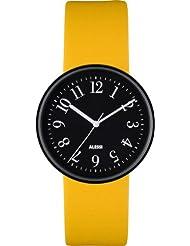 Alessi AL6200 - Reloj analógico unisex, correa de cuero color amarillo