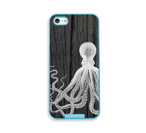 Shawnex Octopus On Dark Wood Aqua Plastic iPhone 5 & 5S Case - Fits iPhone 5 & 5S