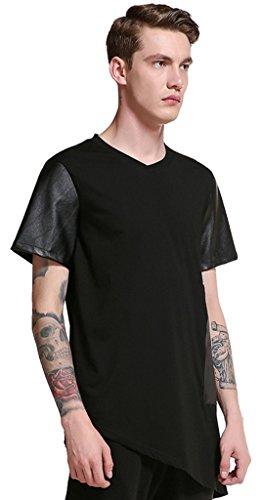 Whatlees Herren Hip Hop Urban Basic Design Lang geschnittenes T-Shirt aus weiches Jersey B563-Black