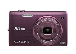Nikon Coolpix S5200 16MP Point-and-Shoot Digital Camera (Plum) with 4GB Card, Camera Pouch, HDMI Cable