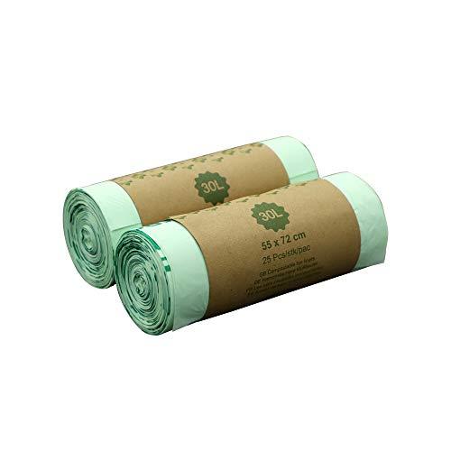 Im ecogreen - sacchetti biodegradabili per la spazzatura compostabili, 100% compostabili, 30 litri, 50 pezzi, extra spessi, biodegradabili e compostabili, certificati en 13432, tuv home ok compost