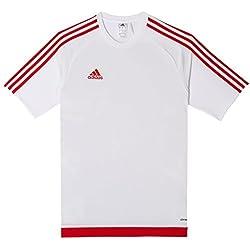 adidas Estro 15 JSY - Camiseta para hombre, color blanco / rojo, talla M
