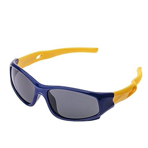 Lunette de Soleil Mixte Enfant Sport Polarisées (3-12 ans) Forepin® UV400 Protection Anti-glare Anti-reflet Ultra Léger Flexible Lunette pour Garçon et Fille (Bleu foncé +