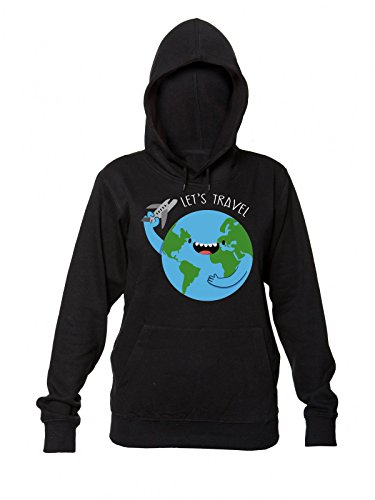 Let's Travel Around The World Women's Hooded Sweatshirt Small (Green Star Tickets)