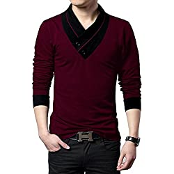 "Seven Rocks Men's V-Neck Cotton Tshirt ""V-Neck Tshirt Wine Melange""(Small)"