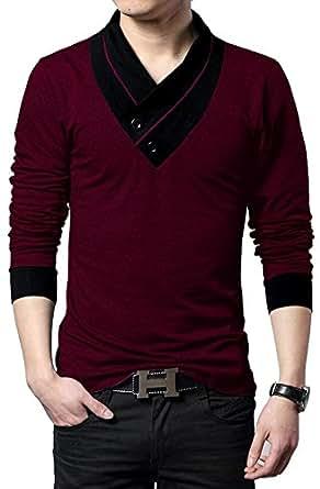 EYEBOGLER Regular Fit Men's Cotton T-Shirt (XS-T1-WMBL, Wine Melange-Black, X-Small)