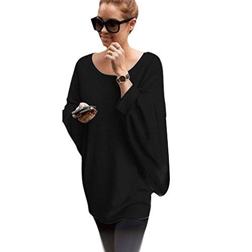 tonsee-femmes-oversized-batwing-manches-tricote-pullover-loose-sweater-taille-unique-noir