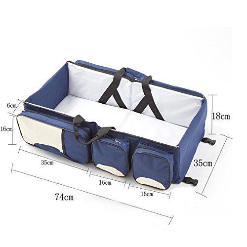 Adoraland Lovelybaby 3 in 1 - Wickeltasche Multifunktional Baby Tasche faltbar Baby Stubenwagen Bettchen Mummy Travel Tasche Rot Blau