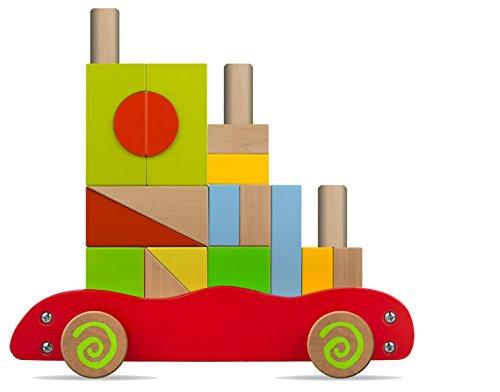 ColorBaby - Carrito bloques de madera, 22 piezas (42746)
