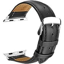 Apple Watch Correa, SOWTECH 42mm Banda de Reloj de Reemplazo Correa de Cuero de Piel con Hebilla Moderna Metálica para iWatch & Deporte& Edición Todos los Modelos(42mm-Negro)