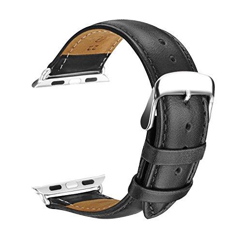 SOWTECH Apple Watch Armband 42mm iWatch [100% echtes Leder] Ersatz Uhrenarmband Handgelenk Band mit Metallschließe für Apple Watch & Sport & Edition (42mm-Schwarz)