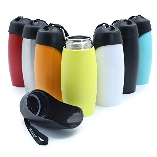 Vivaglory auslaufsichere Hund Reise Wasserflasche, 750 ml Edelstahl Hund Trinkflasche mit Big Trough, BPA frei, gelb