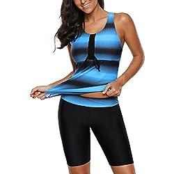Lasperal Femme Maillot de Bain 2 Pièces Tankini Rayures Imprimé Short Demi-Long Grande Taille Élégant Swimsuit pour Plage Piscine Natation