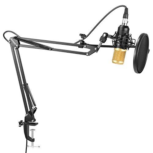 Neewer Micrófono de condensador de estudio profesional NW-8000 y brazo de tijera de suspensión ajustable con Montura conra choque, filtro y Kit de abrazadera de montaje de mesa para difusión y grabación de sonidos
