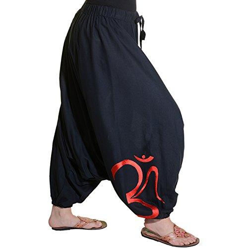 Kunst und Magie Damen Hippie OM Haremshose Pluderhose Baumwolle Aladinhose Rot