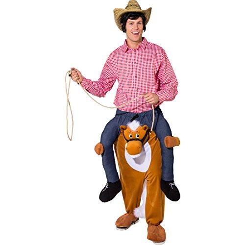 Kostüm Pferd Für Erwachsene - Amakando Aufsitz-Kostüm Pony | Größe 1,60-1,75m | Huckepack Kostüm Pferd | Trag Mich Kostüm Erwachsene | Reitkostüm Ross | Pferdekostüm Huckepack | Kostüm Pferd