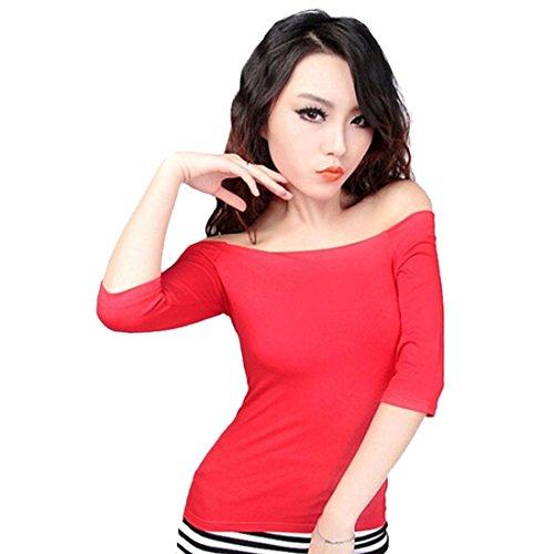 Femmes Sexy Douce De L'Epaule A Encolure Bateau Manches Demi-Shirt De Base T-Shirt Tops Rouge