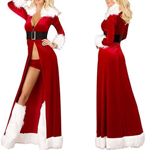 Junjie-Weihnachten Frauen Sexy Lange Nachtwäsche Flauschigen Pelz Gürtel Unterwäsche Nachthemd...