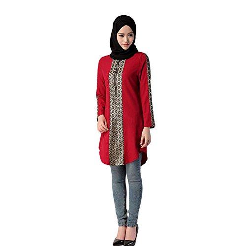 Haodasi Musulman Femme Manche longue Chemise Arab Islamic Filles Wear pour Ramadan red