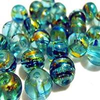 50pièces 6mm Étirer Perles de verre–Aqua–A3540