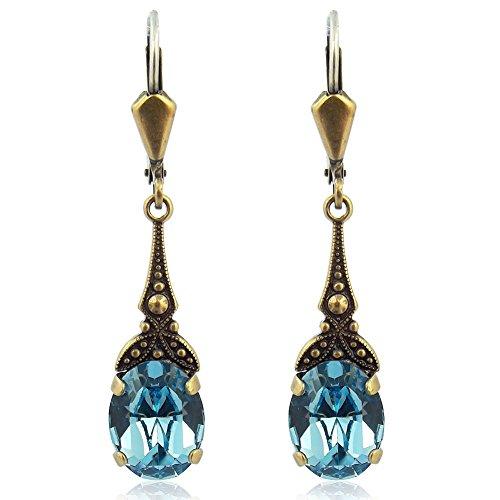 Jugendstil Ohrringe mit Kristallen von Swarovski Gold Blau NOBEL SCHMUCK