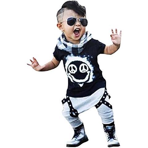 1 Set niñito chico pantalones largos de la camiseta + prendas de vestir trajes Koly (80)