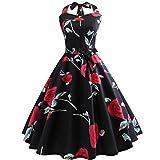 VEMOW Elegante Damen Bowknot Abendkleider Vintage Bodycon Sleeveless Halter beiläufige Tägliche Abend Party Prom Swing A-Linie Kleid Schulterfrei Faltenrock Cocktailkleider(Schwarz 1, EU-36/CN-S)