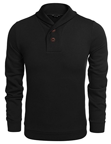 Coofandy Sudadera Hombre Negro sin Capucha Jersey con Botón Cuello Chal Moda XL