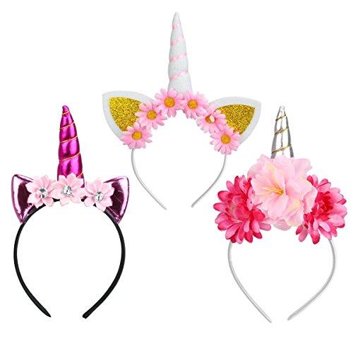 NiceButy Haarreif, Einhorn mit Blumen, Weihnachten, Hut Kostüm, Haarband, Filz, Horn, Ohren, niedliches Einhorn, für Cosplay, Kostüm (DREI - Einhorn Kostüm Hut