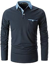 GHYUGR Polo para Hombre Mangas Largas Denim Costura Camisas Algodón Slim Fit Camiseta Golf Poloshirt T
