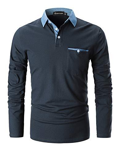 GHYUGR Poloshirts Herren Basic Langarm Baumwolle Polohemd Denim Nähen Golf T-Shirt S-XXL,Blau 1,XL