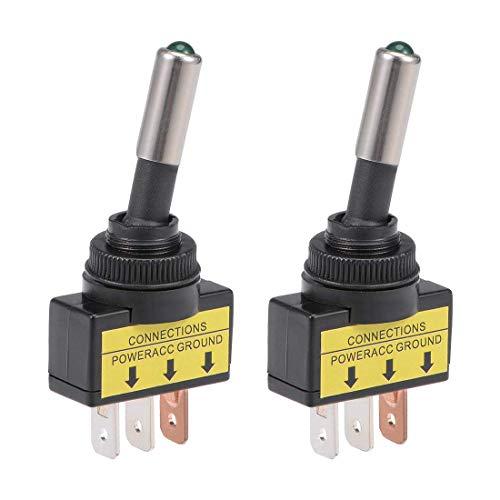 ZCHXD 2Pcs SPST Latching Rocker Toggle Switch Green LED Light 20A 12V 3P ON-Off Round Rod Black - 20a Toggle