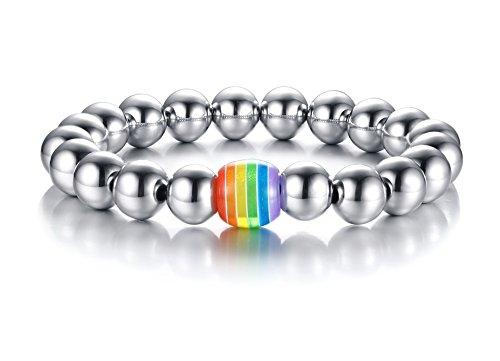 Vnox Regenbogen Handmade Edelstahl Perlen Armband LGBT Homosexuell & Lesben Pride