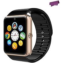"SalesLa 1,54 ""pantalla táctil GT08 Bluetooth elegante reloj de pulsera teléfono WeChat mate para Android IOS (black&gold)"