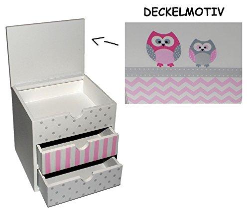 Holzbox / Holzkiste mit Schubladen - Holz - Eulen zum Hinstellen - Utensilo - kleine Kommode / Schmuckkasten - Deko für Kinder + Erwachsene - Kinderzimmer Eulen Kind Tisch z.B. für Schmuck Schmuckbox Box Mädchen