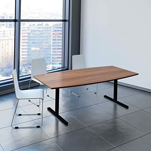 WeberBÜRO Easy Konferenztisch Bootsform 200x100 cm Nussbaum Besprechungstisch Tisch, Gestellfarbe:Schwarz