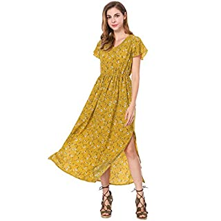 Allegra K Ladies' Summer V-Neck Short Sleeves Split Sides Evening Floral Maxi Dress Yellow M