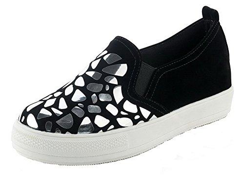 VogueZone009 Femme Rond Tire Dépolissement Couleurs Mélangées à Talon Correct Chaussures Légeres Noir