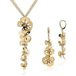 Gioiello Italiano - Parure a fiori in oro giallo 14kt: collana e orecchini