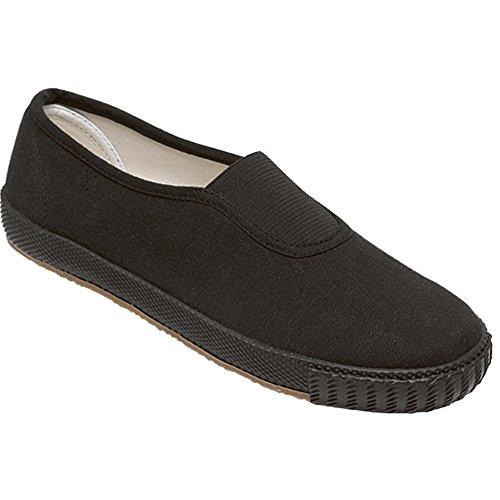 Myshoestore®-Unisex-Erwachsenen-Schule, für Gym, Sport, Schwarz - Black / Gusset - Größe: 44 EU Kind (Schwarze Pumpe Erwachsene Schuhe)