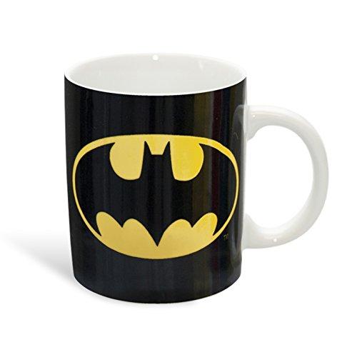 Batman - tazza con logo del supereroe - licenza dc comics -resistente alla lavastoviglie e al microonde - ceramica